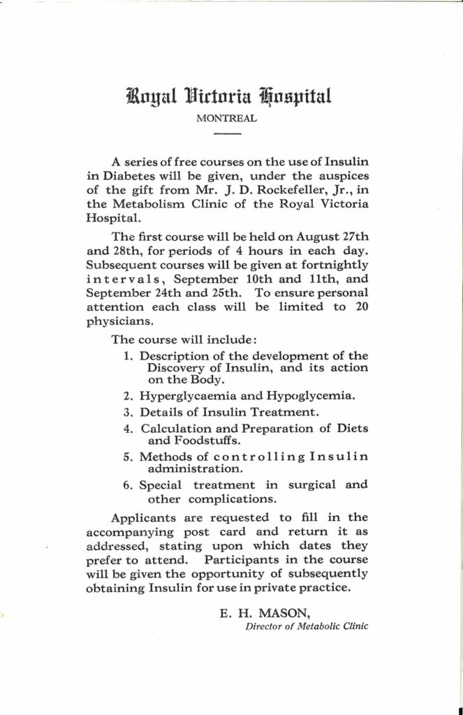 """A flier for a 1923 course on the use of insulin in diabetes treatment at the Royal Victoria Hospital in Montreal, Canada. This course was made possible through John D. Rockefeller, Jr.'s 1923 """"Insulin Gift."""""""