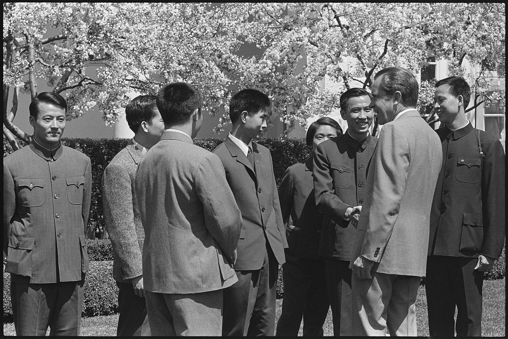 American President Richard Nixon meetings with the Chinese table tennis team, part of what came to be called ping pong diplomacy