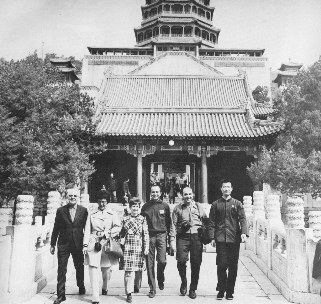 The American table tennis team poses in front of the Forbidden City in Beijing, during their visit to China in 1971