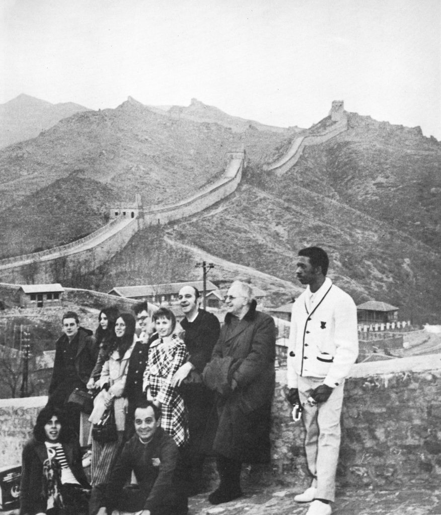 The American table tennis team poses in front of the Great Wall of China, 1971, carrying out what would be called ping pong diplomacy