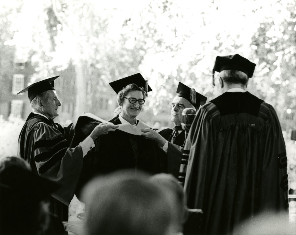 Cecily Saunders receiving an honorary degree from Yale University in 1969.
