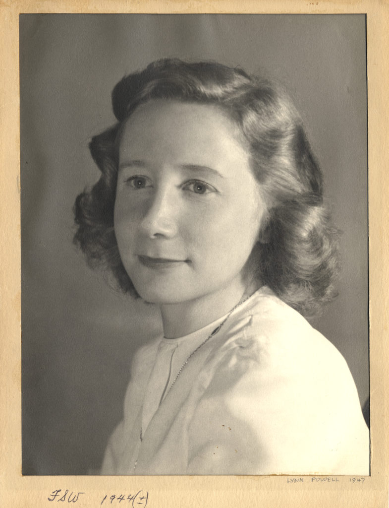 Photograph of Florence Wald, 1947.