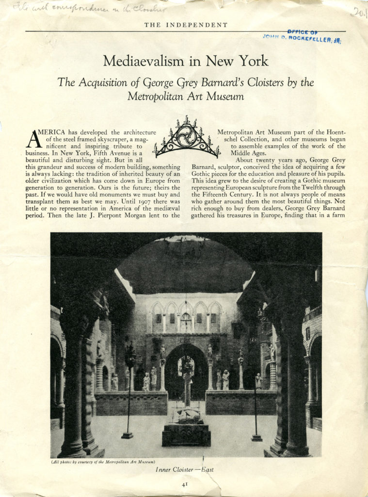 "A page from a magazine article profiling the Met Cloisters acquisition of George Grey Barnard's collection. Title Reads ""Medievalism in New York"""