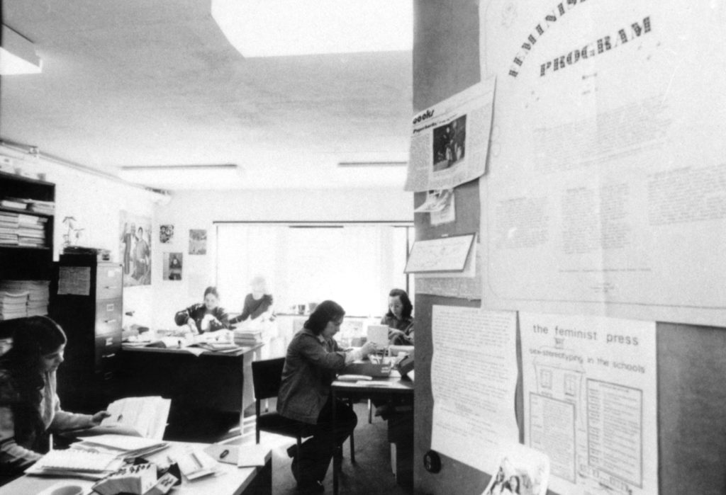Women working in the offices of the Feminist Press in New York City, 1974