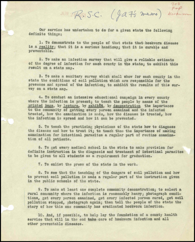 A typed memo listing ten points of public health for the campaign against hookworm disease.