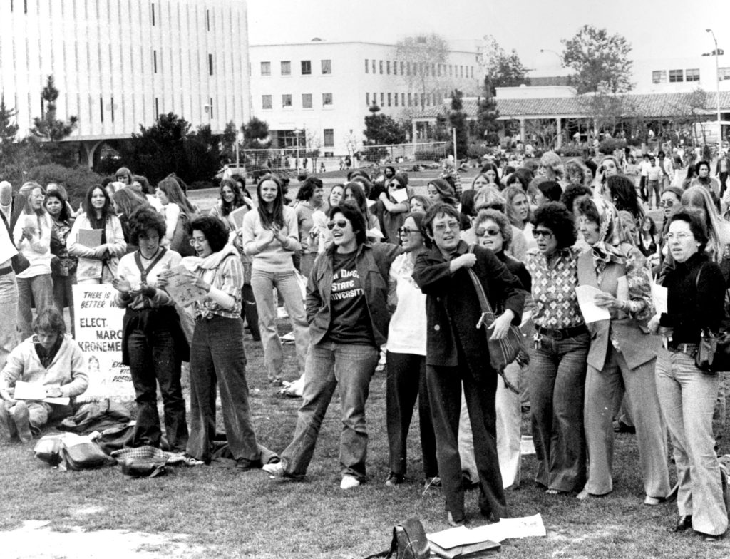 San Diego State University Women's Studies faculty and students gather for a Susan B. Anthony birthday celebration in 1976