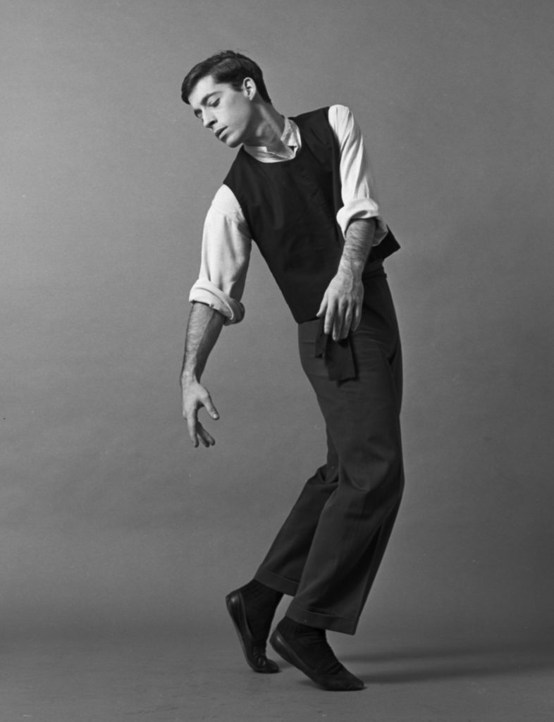 "A photograph of dancer and choreographer Eliot Feld performing the piece ""Dark Elegies"" in 1965."