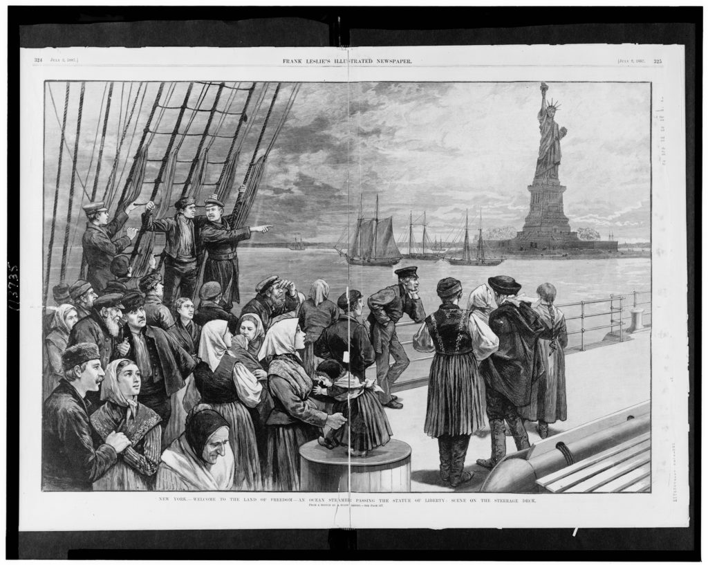 Black and white sketch of immigrants on an ocean steamer with the Statue of Liberty in New York in the background