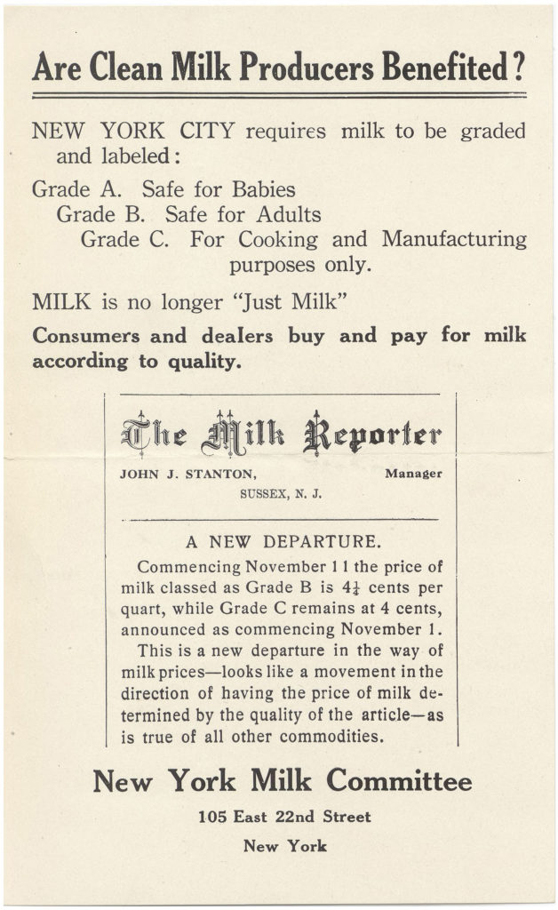 "Leaflet reads ""Are Clean Milk Producers Benefited? New York City requires milk to be graded and labeled: Grade A, Safe for Babies. Grade B, Safe for Adults. Grade C., For Cooking and Manufacturing purposes only. Milk is no longer ""just milk"" Consumers and dealers buy and pay for milk according to quality. New York Milk Committee, 105 East 22nd Street, New York."