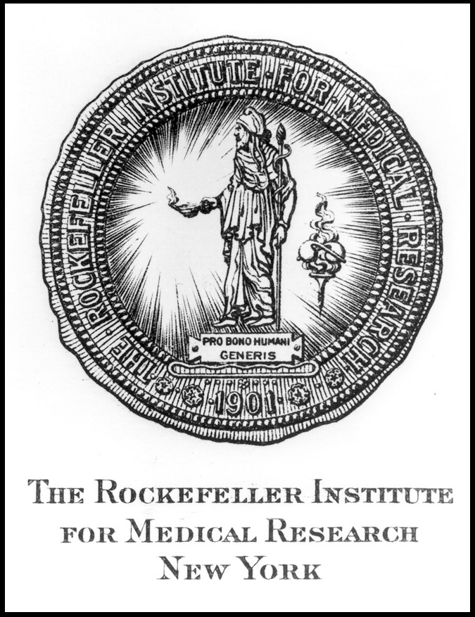 Institutional seal of the Rockefeller Institute for Medical Research in New York, circle with a figure in the middle bringing light