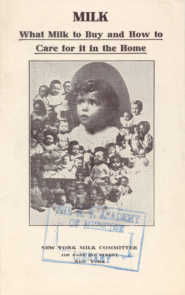 "An educational circular with a photo of several infants, reading ""Milk. What milk to buy and how to care for it in the home."""