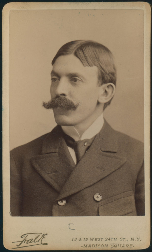 Portrait of Doctor Hermann Biggs, a man with a mustache wearing a suite from circa 1900.