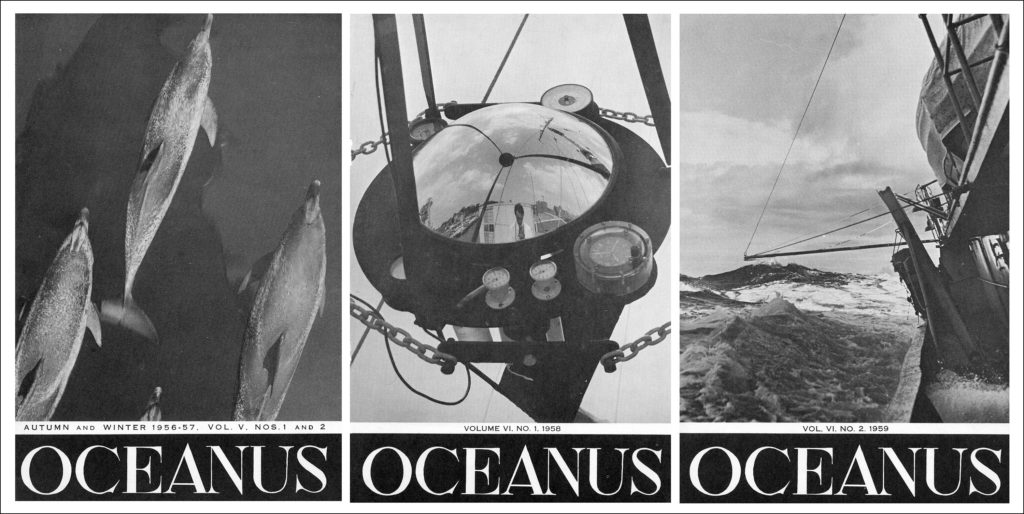 Three black and white covers of Oceanus, a journal dedicated to oceanography.
